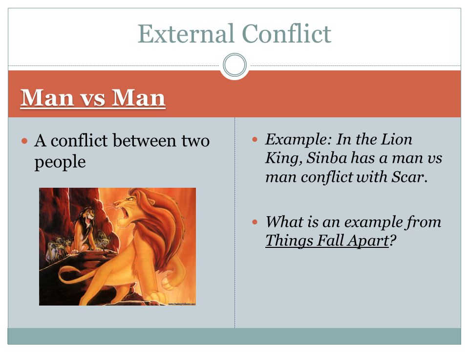External Conflict Man vs Man A conflict between two people