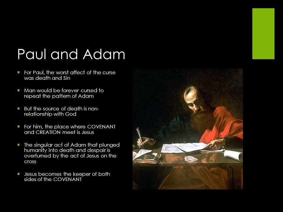 Paul and Adam For Paul, the worst affect of the curse was death and Sin. Man would be forever cursed to repeat the pattern of Adam.