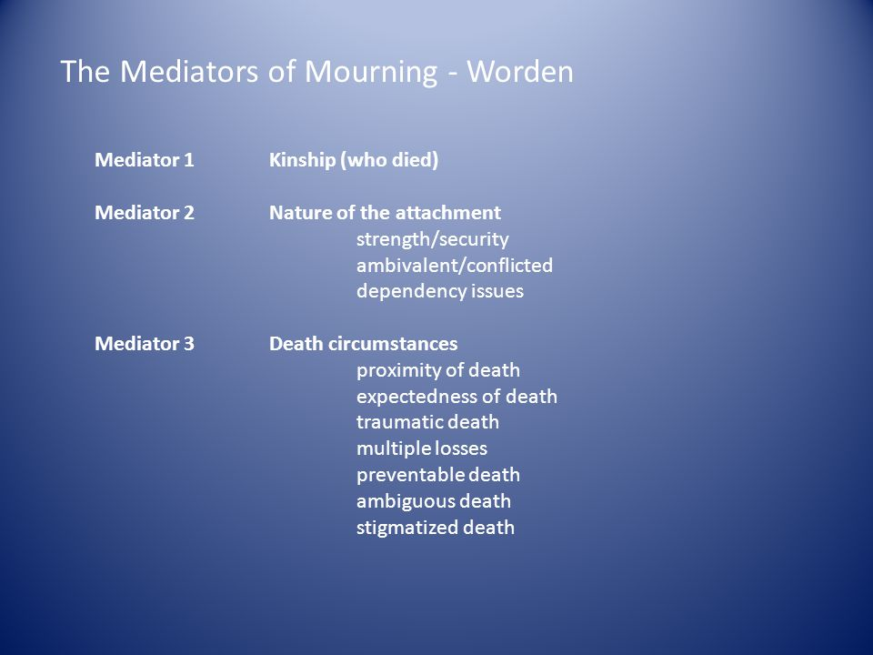 The Mediators of Mourning - Worden