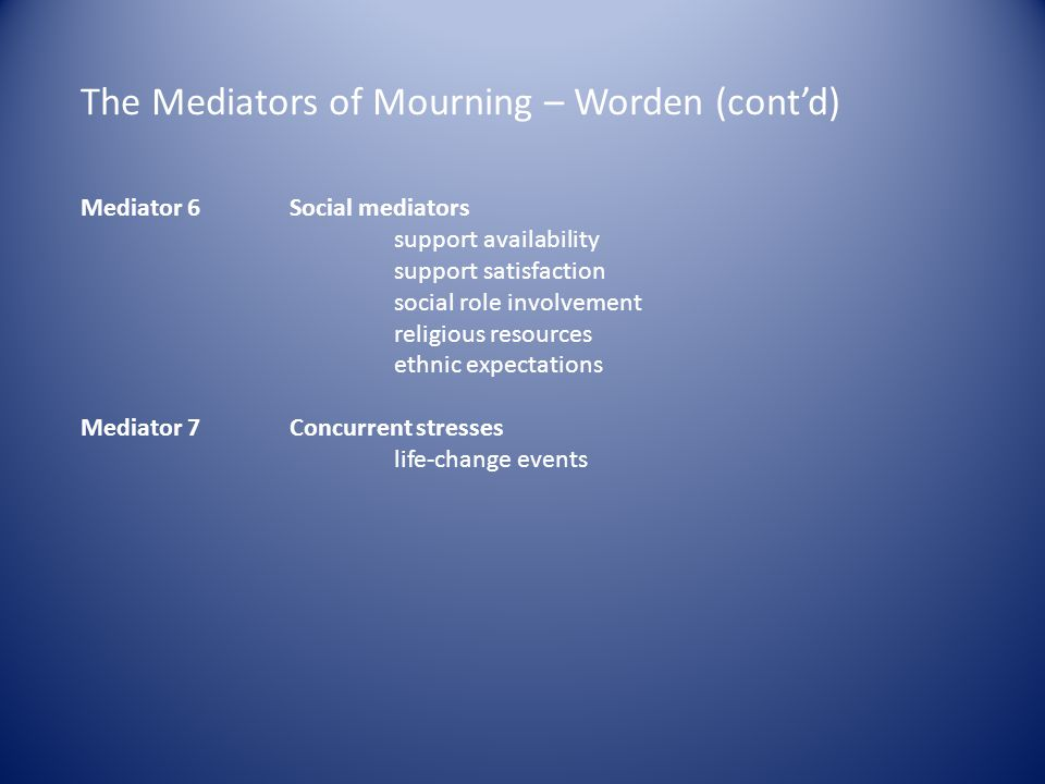 The Mediators of Mourning – Worden (cont'd)