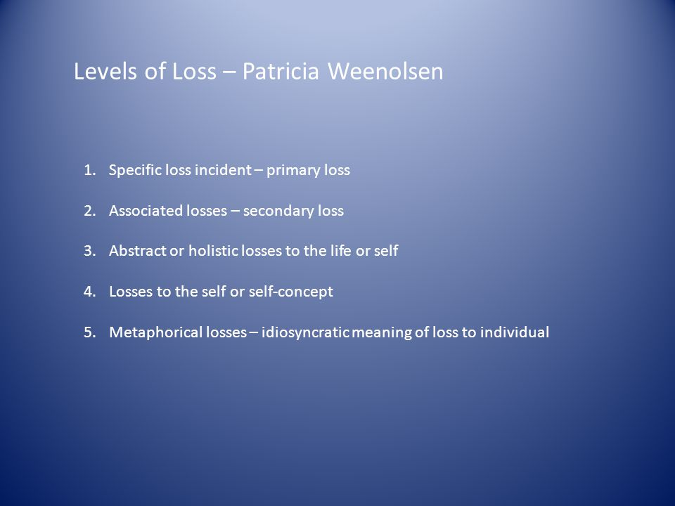 Levels of Loss – Patricia Weenolsen