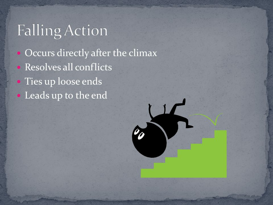 Falling Action Occurs directly after the climax Resolves all conflicts