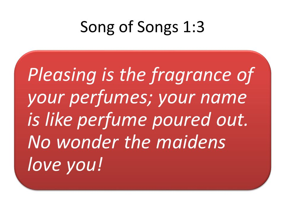 Song of Songs 1:3 Pleasing is the fragrance of your perfumes; your name is like perfume poured out.