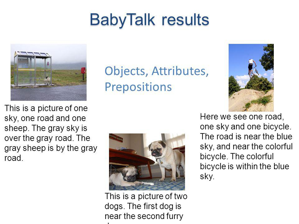 BabyTalk results Objects, Attributes, Prepositions