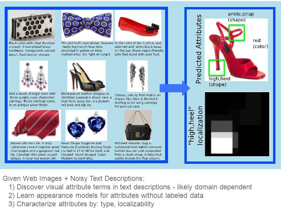 Given Web Images + Noisy Text Descriptions: