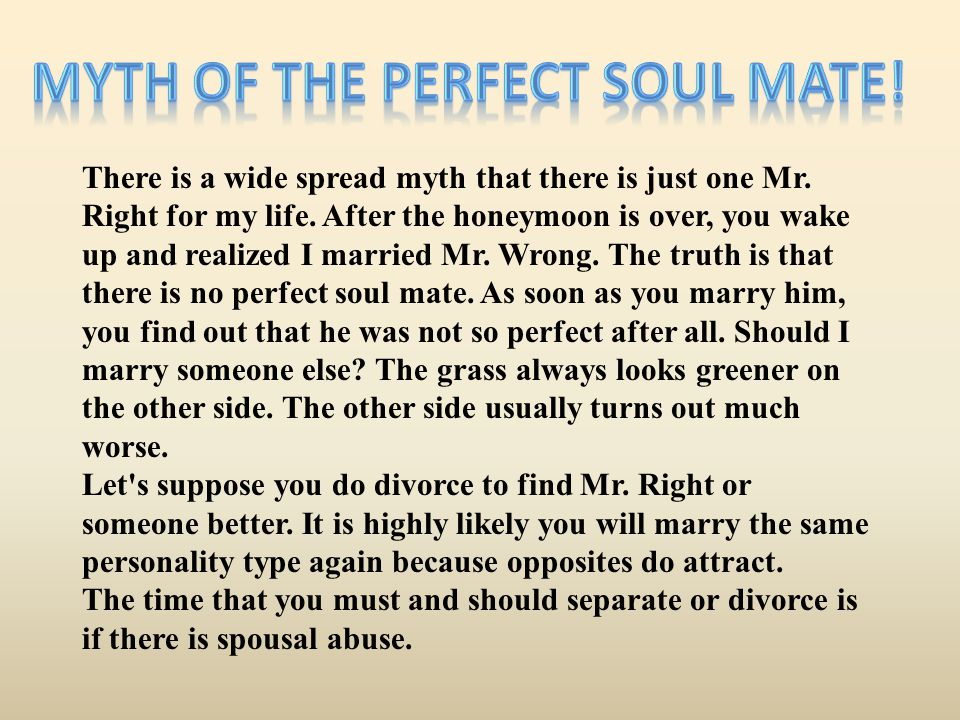 Myth of the Perfect Soul Mate!