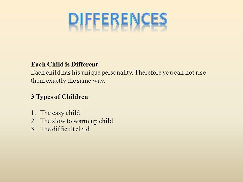 Differences Each Child is Different