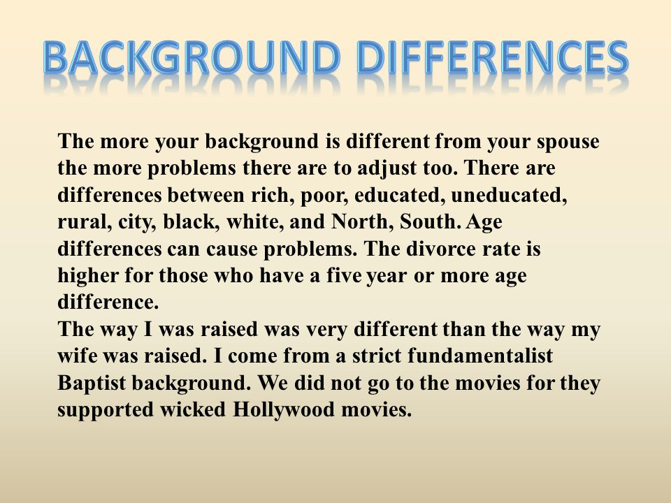 Background Differences
