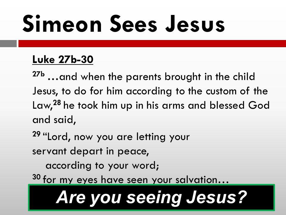 Simeon Sees Jesus Are you seeing Jesus Luke 27b-30