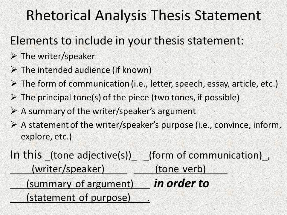 rhetorical analysis thesis statement ppt video online  rhetorical analysis thesis statement