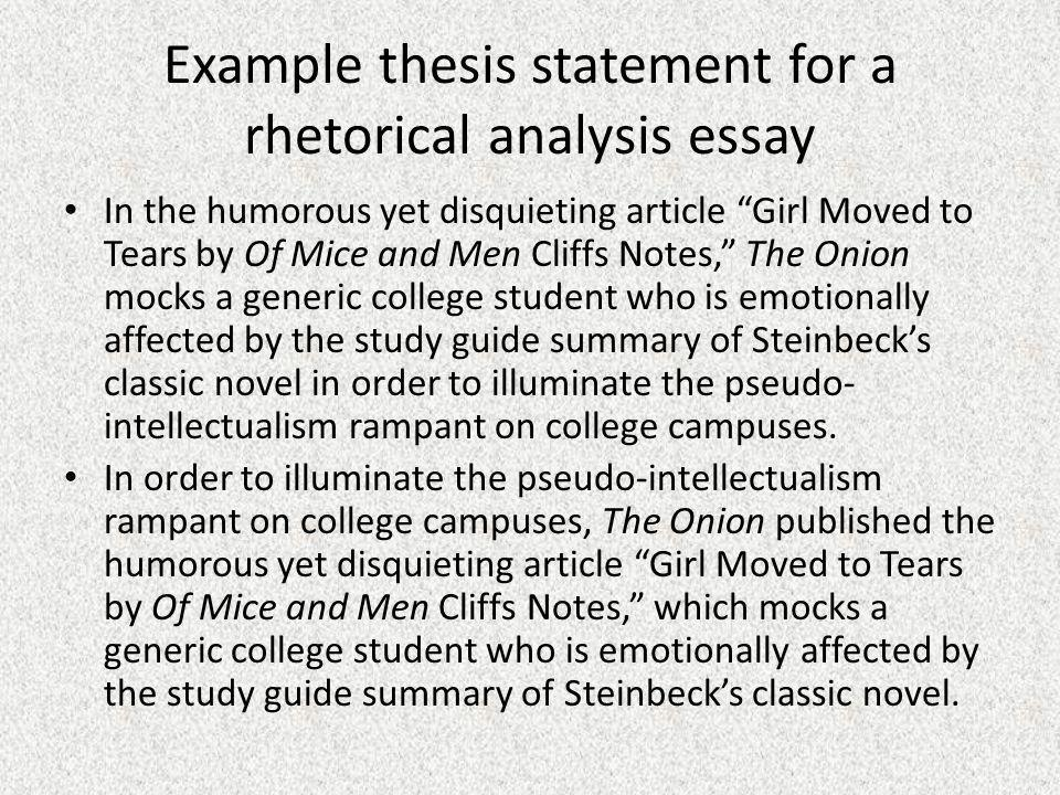 example thesis statement for a rhetorical analysis essay - Example Of A Rhetorical Essay