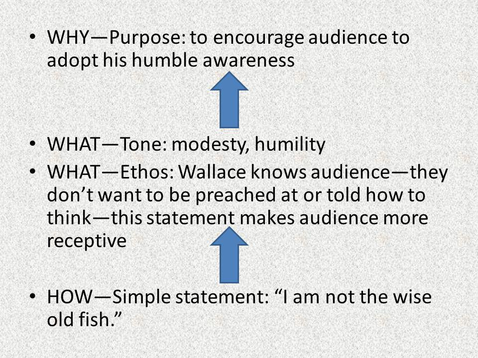 WHY—Purpose: to encourage audience to adopt his humble awareness