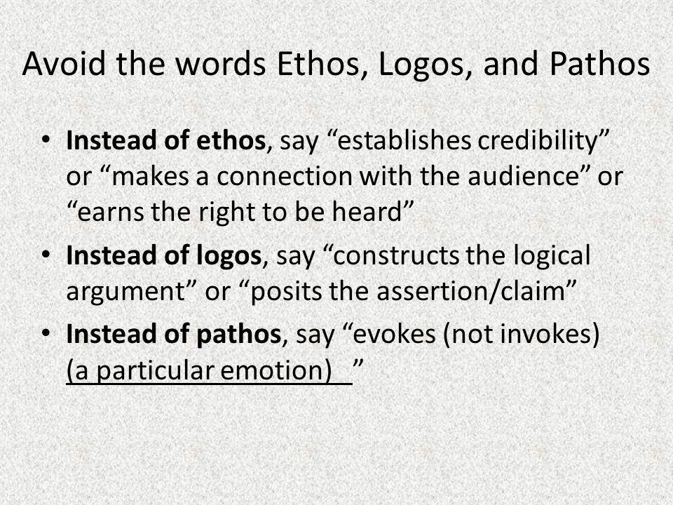 Avoid the words Ethos, Logos, and Pathos