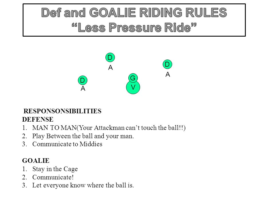 Def and GOALIE RIDING RULES Less Pressure Ride