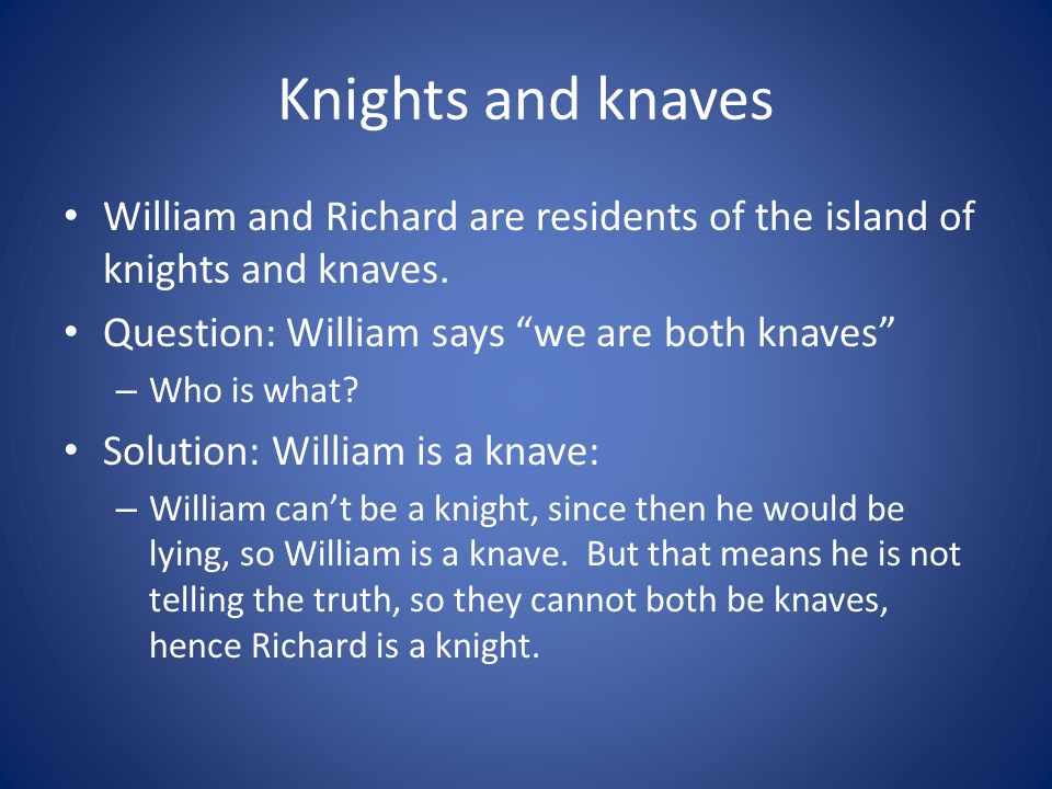 Knights and knaves William and Richard are residents of the island of knights and knaves. Question: William says we are both knaves