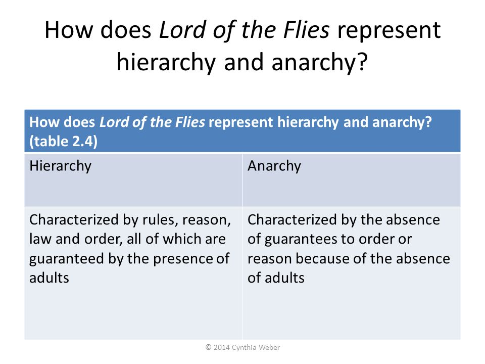 How does Lord of the Flies represent hierarchy and anarchy