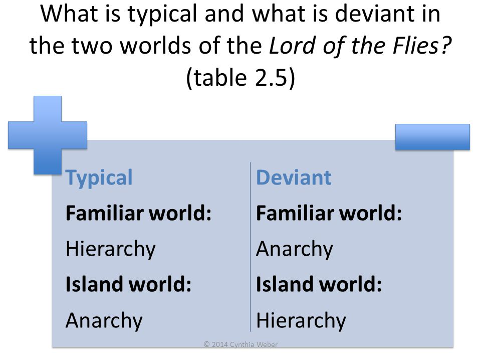 What is typical and what is deviant in the two worlds of the Lord of the Flies (table 2.5)