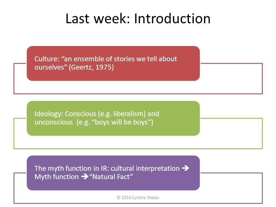 Last week: Introduction