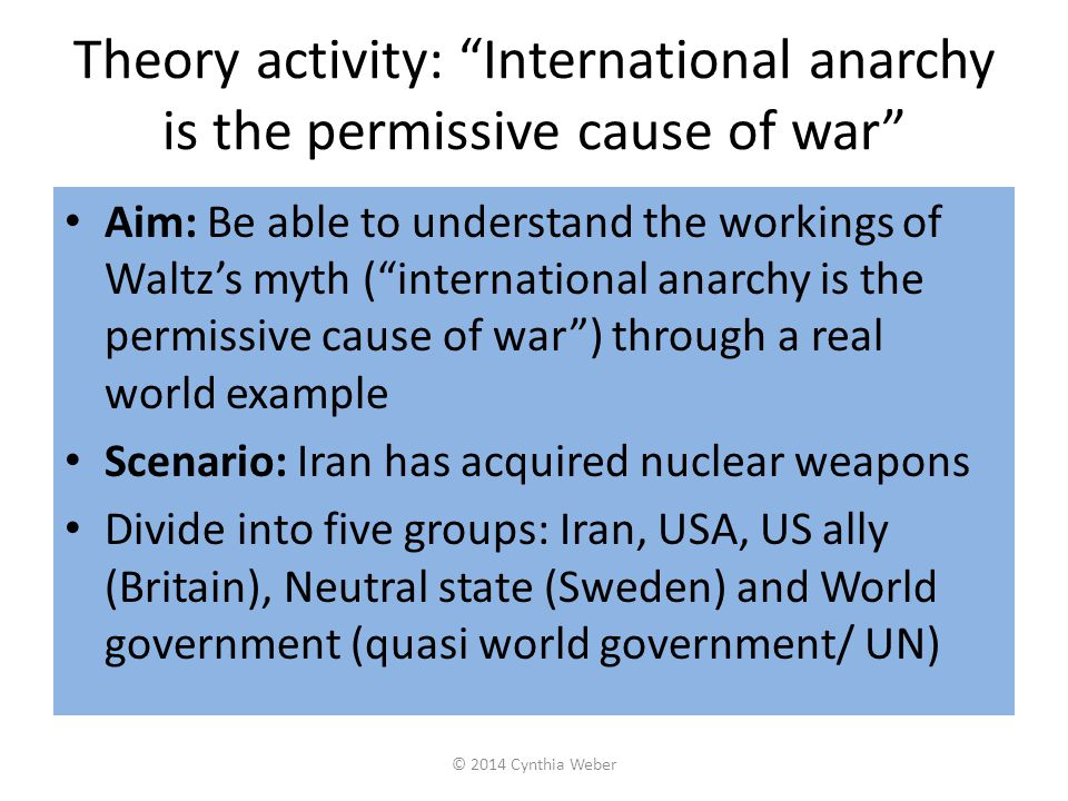 Theory activity: International anarchy is the permissive cause of war