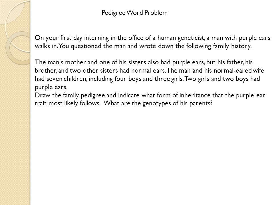 Pedigree Word Problem