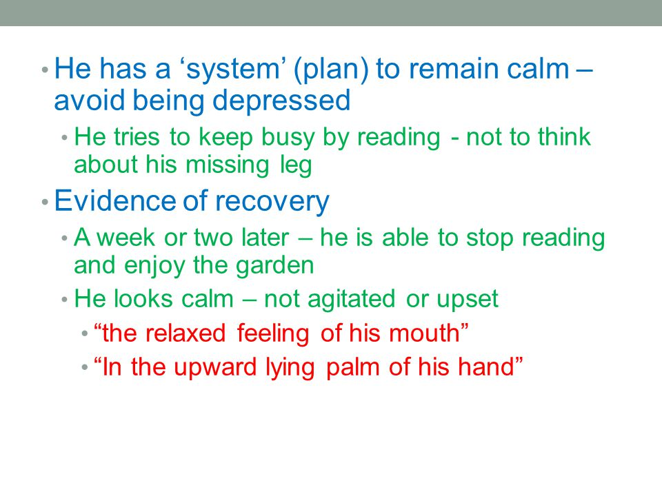 He has a 'system' (plan) to remain calm – avoid being depressed