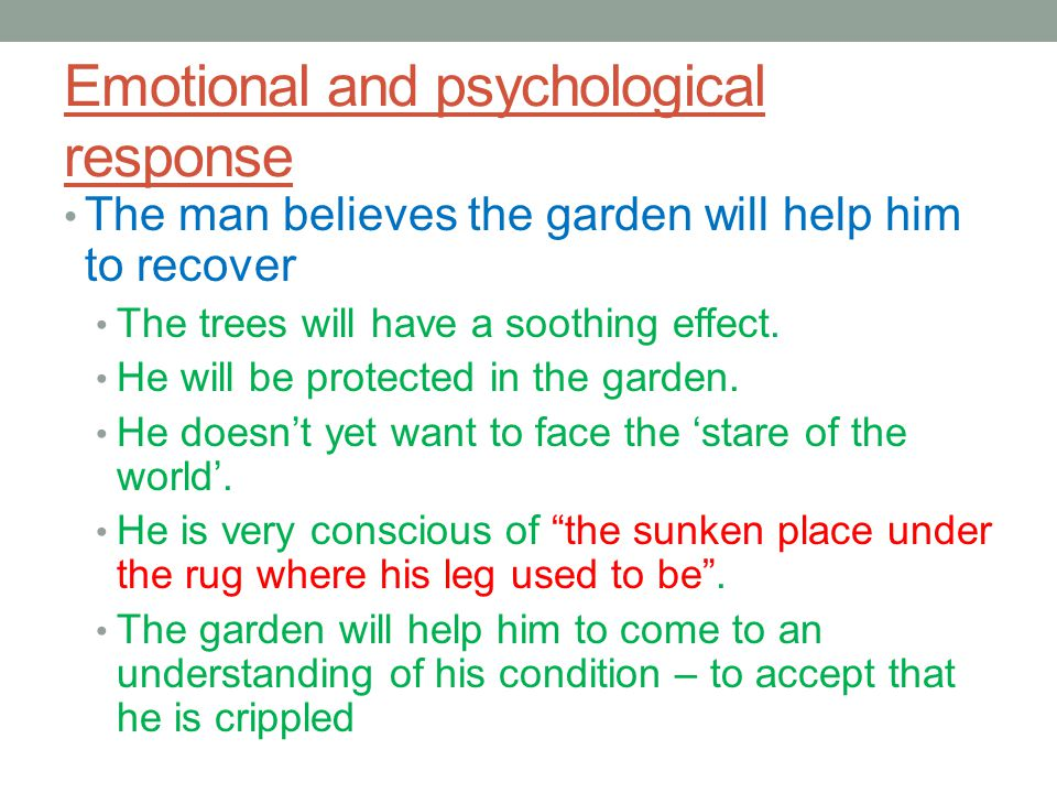 Emotional and psychological response