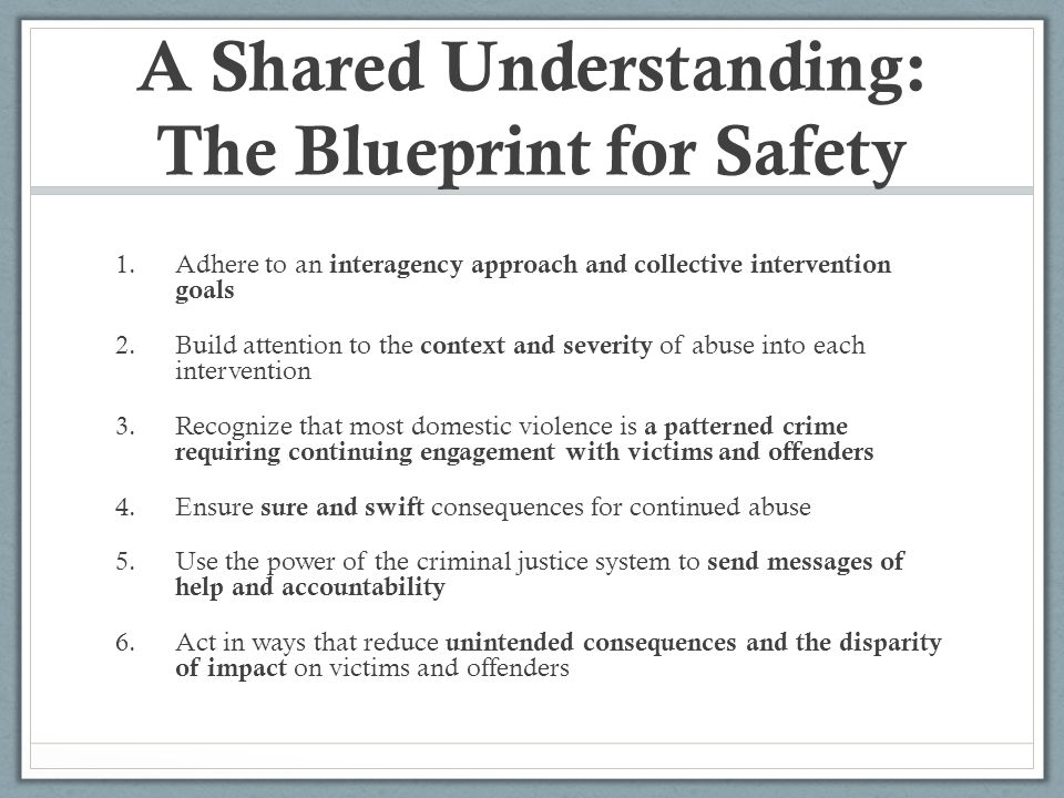 A Shared Understanding: The Blueprint for Safety