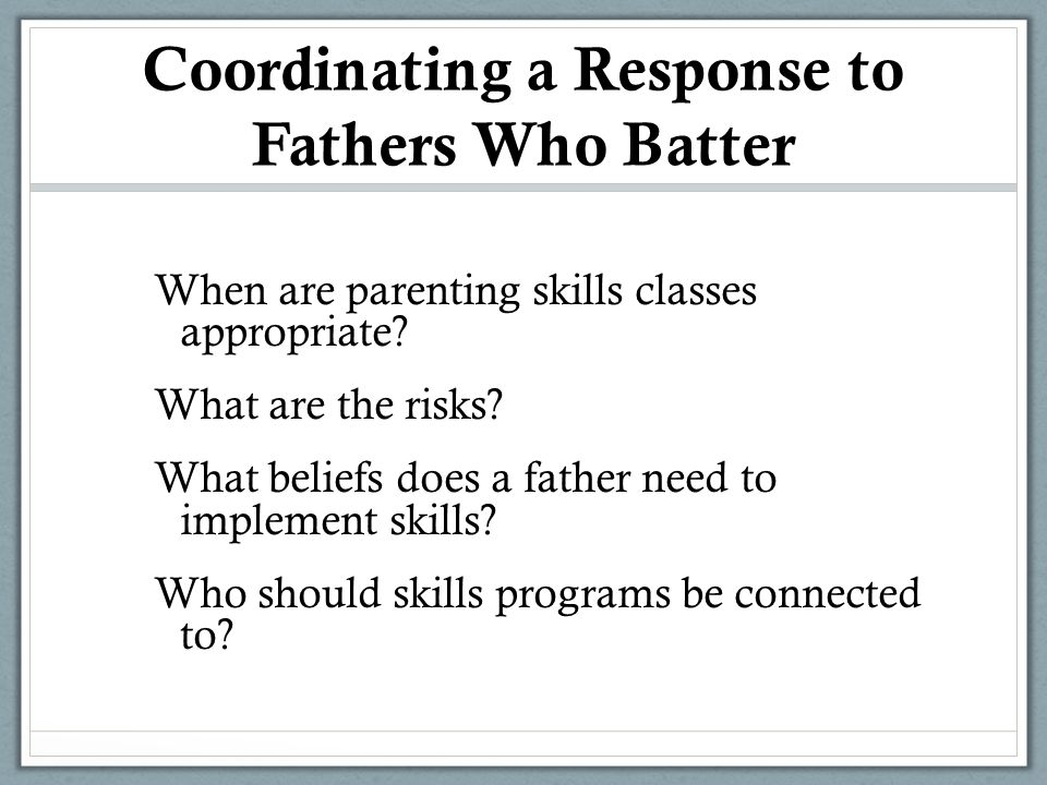 Coordinating a Response to Fathers Who Batter