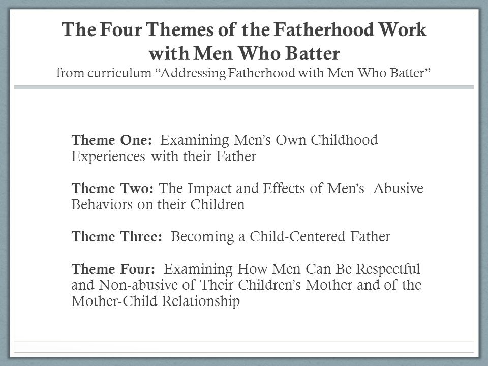 The Four Themes of the Fatherhood Work with Men Who Batter from curriculum Addressing Fatherhood with Men Who Batter