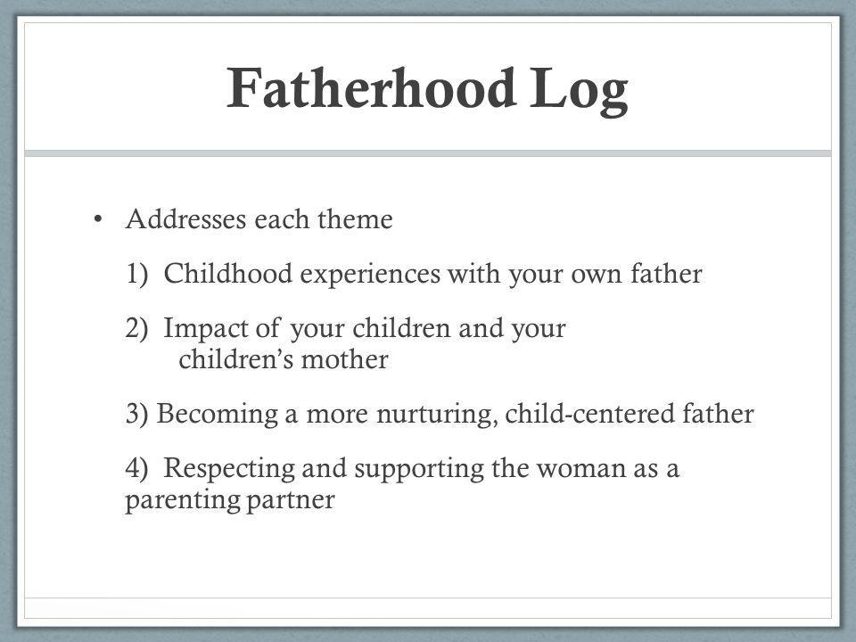 Fatherhood Log Addresses each theme