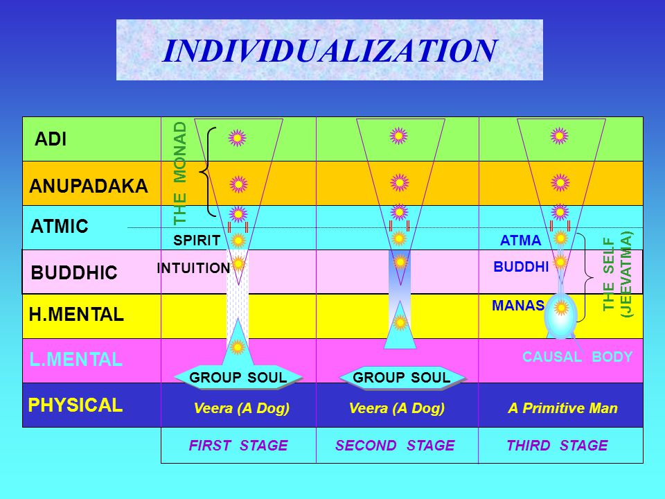 INDIVIDUALIZATION ADI ANUPADAKA ATMIC BUDDHIC H.MENTAL L.MENTAL