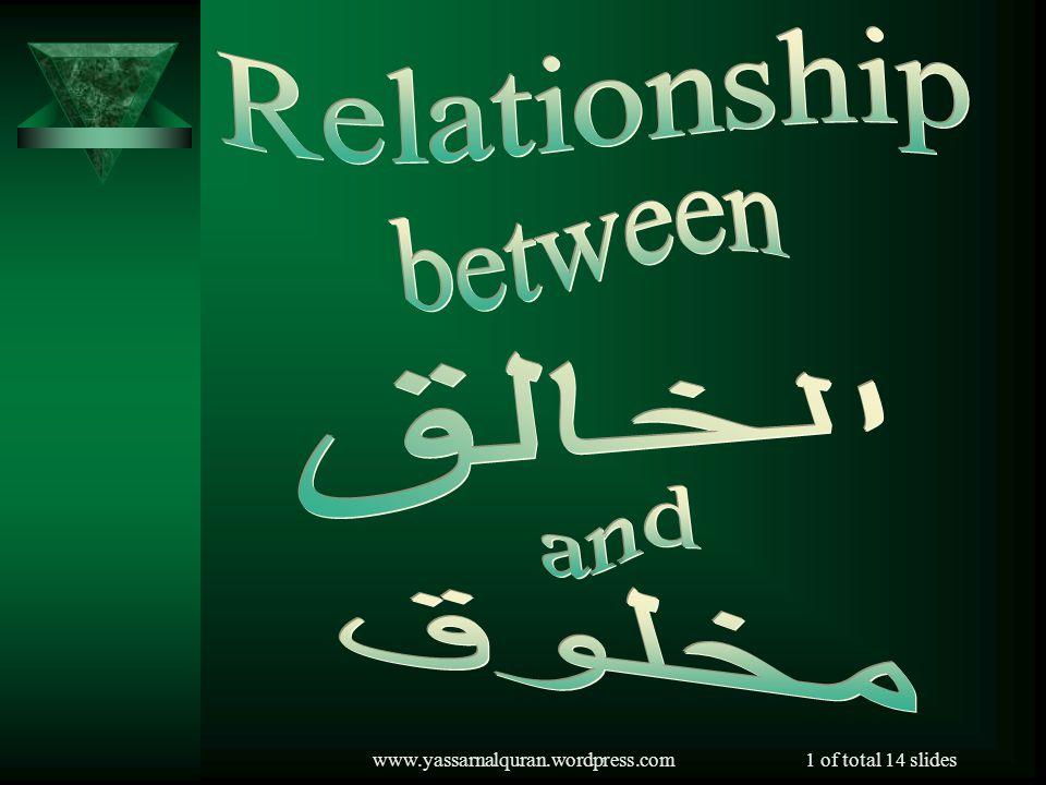 Relationship between الخالق and مخلوق www.yassarnalquran.wordpress.com
