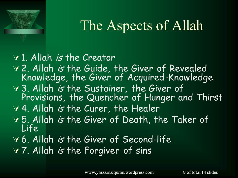 The Aspects of Allah 1. Allah is the Creator