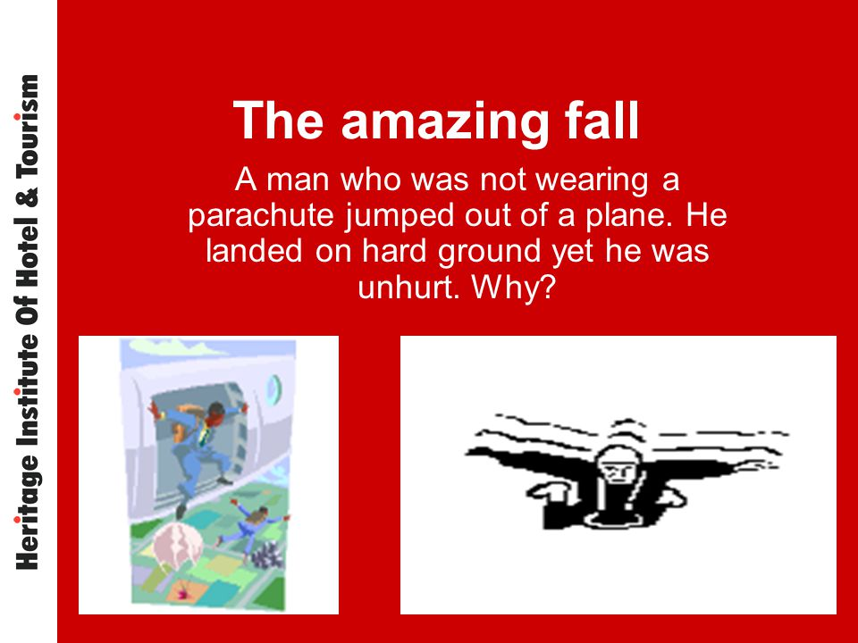 The amazing fall A man who was not wearing a parachute jumped out of a plane.