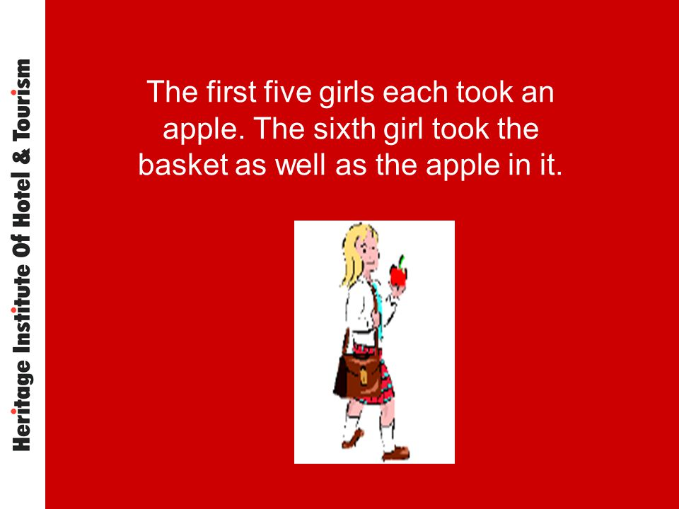 The first five girls each took an apple