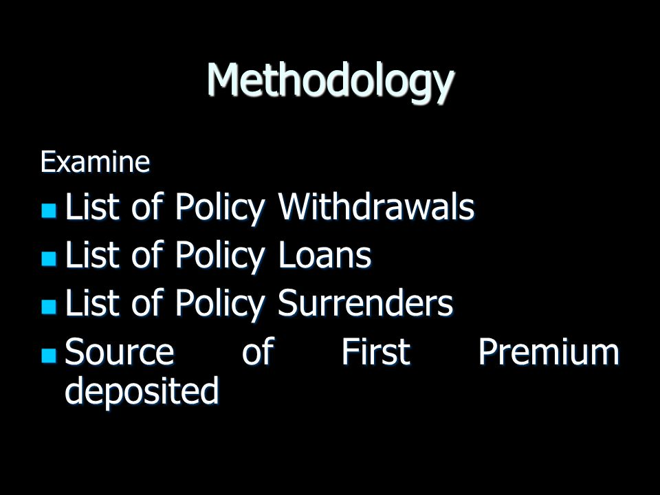 Methodology List of Policy Withdrawals List of Policy Loans
