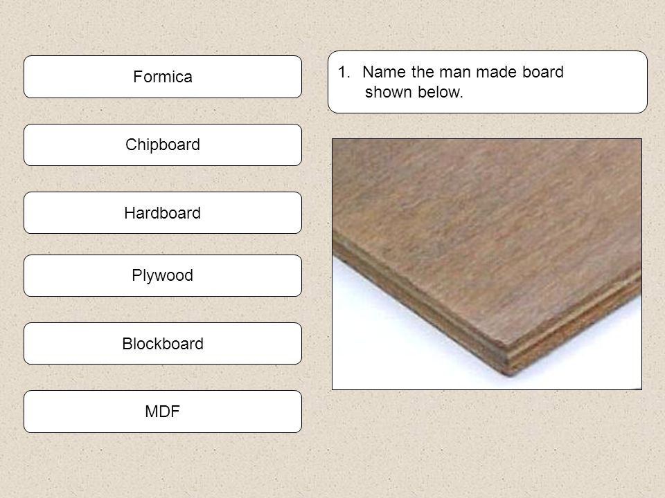 Name the man made board shown below. Formica Chipboard Hardboard Plywood Blockboard MDF