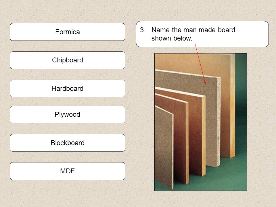 3. Name the man made board shown below. Formica Chipboard Hardboard Plywood Blockboard MDF