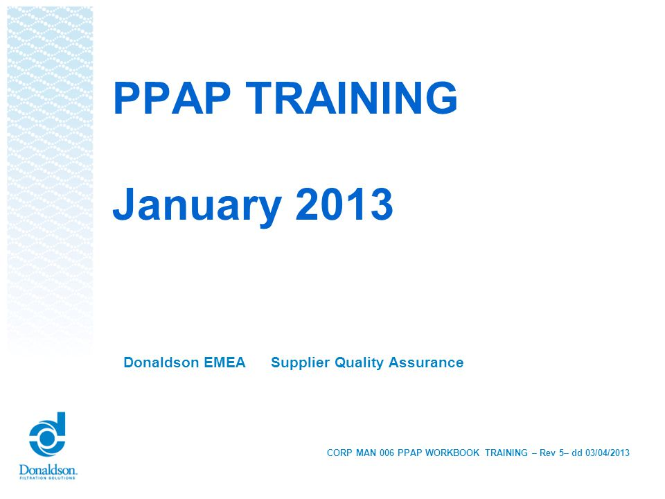 Donaldson EMEA Supplier Quality Assurance