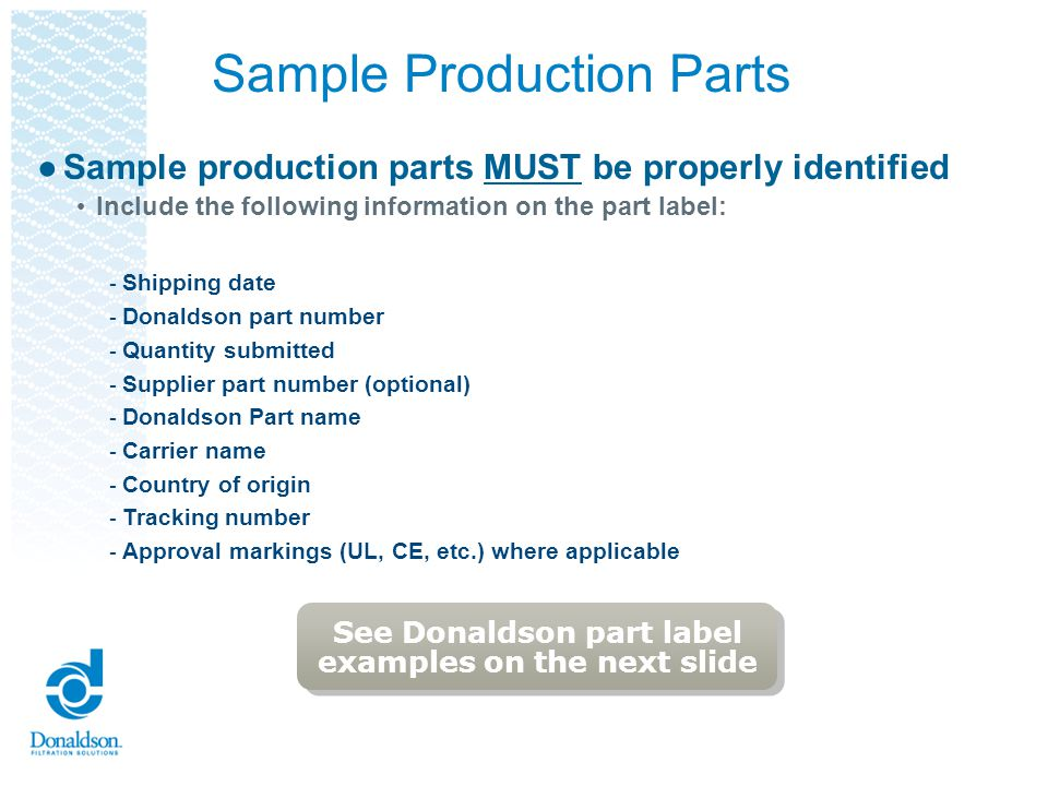 Sample Production Parts