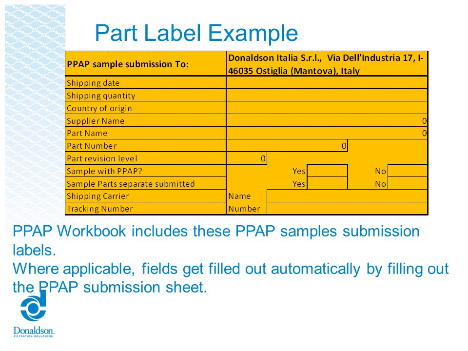 Part Label Example PPAP Workbook includes these PPAP samples submission labels.