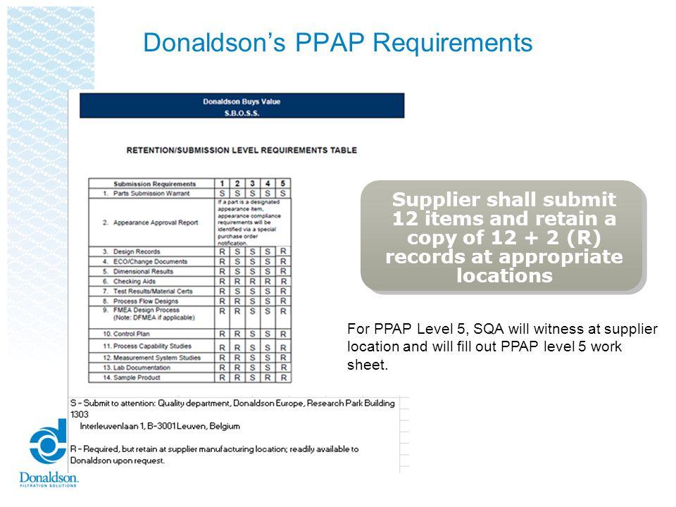 Donaldson's PPAP Requirements