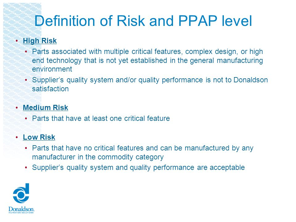 Definition of Risk and PPAP level