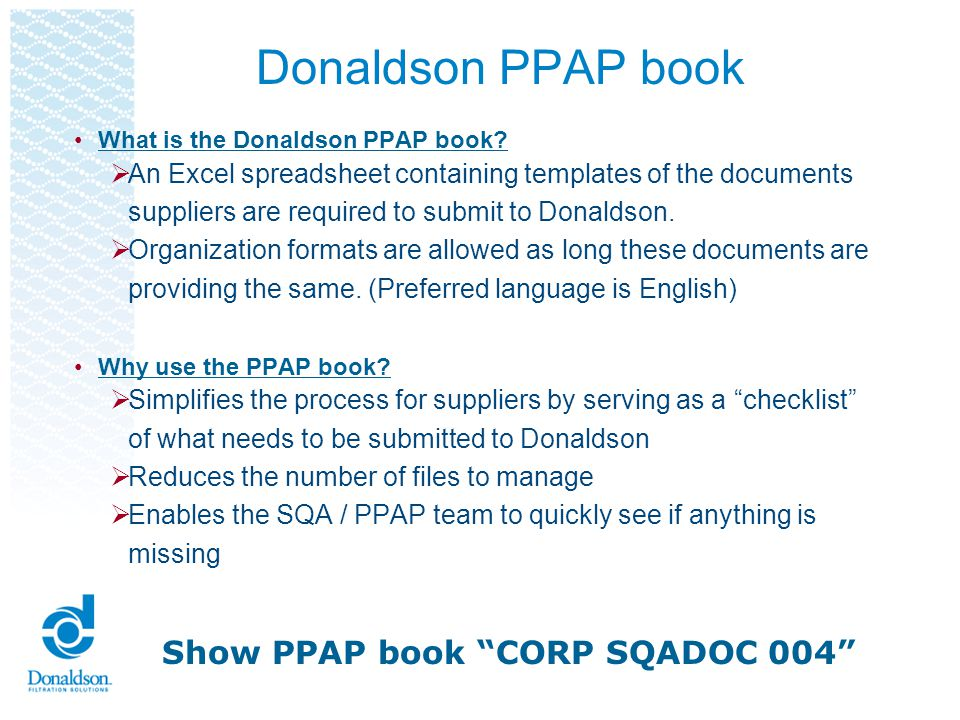 Donaldson PPAP book Show PPAP book CORP SQADOC 004