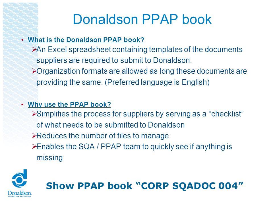 Donaldson PPAP book Show PPAP book CORP SQADOC 004