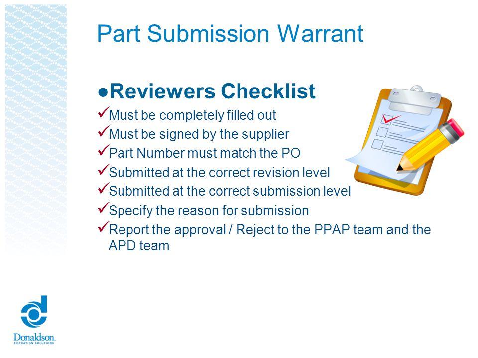 Part Submission Warrant