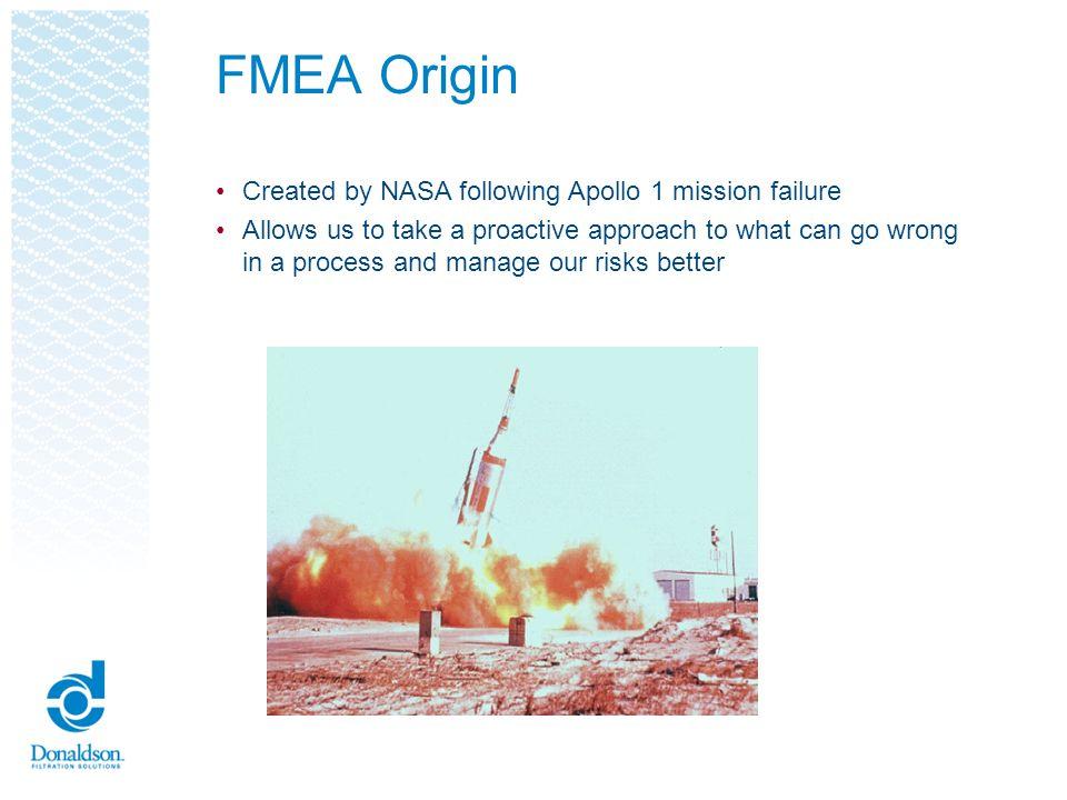 FMEA Origin Created by NASA following Apollo 1 mission failure