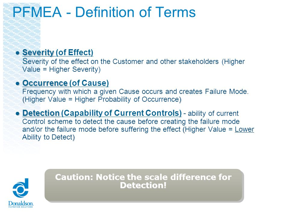 PFMEA - Definition of Terms