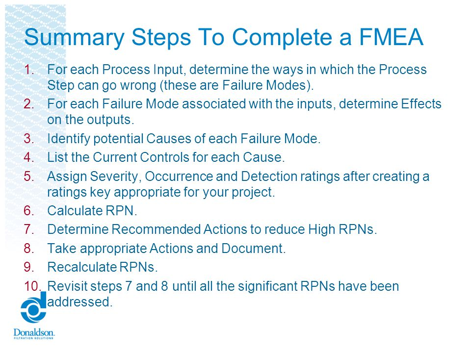 Summary Steps To Complete a FMEA