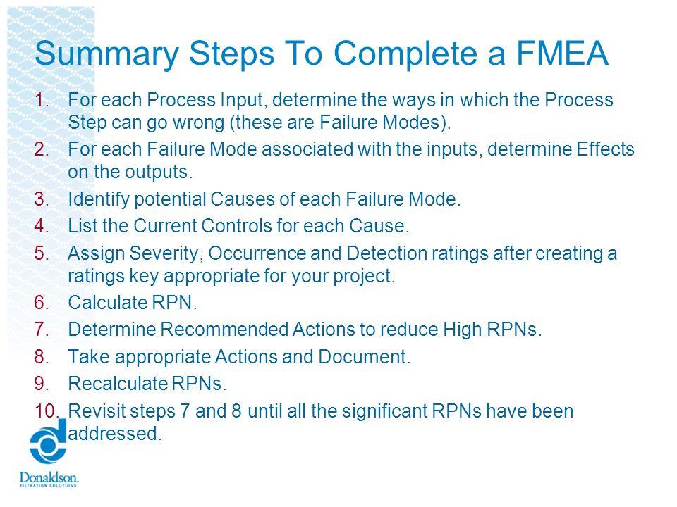 Summary Steps To Complete a FMEA